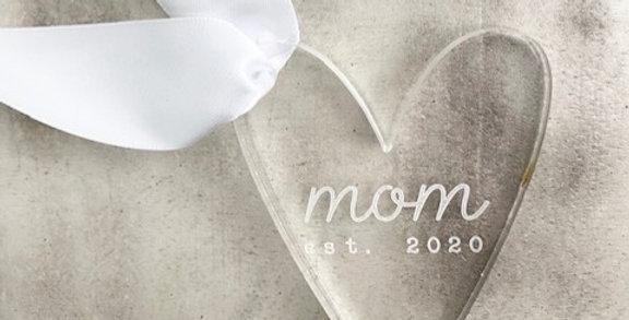mom est. acrylic heart charm