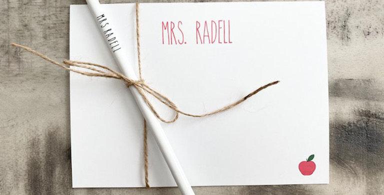 teacher stationary set with pencil
