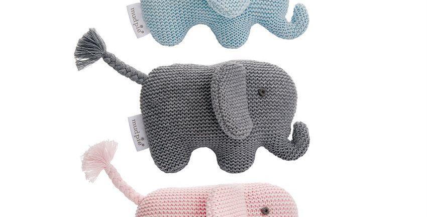 knit elephant rattle