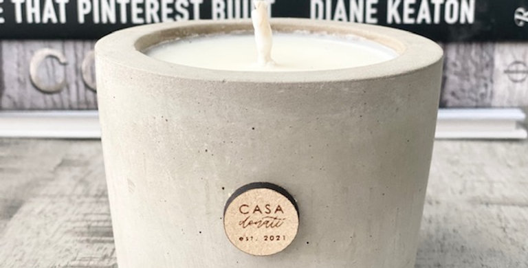 Personalized cement candle