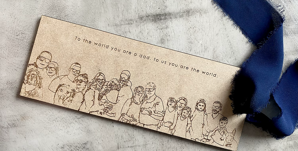 line art charm with quote