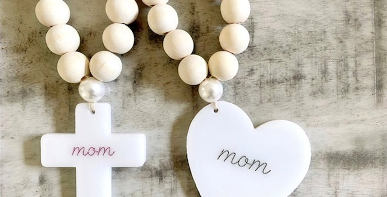 white acrylic hearts & crosses