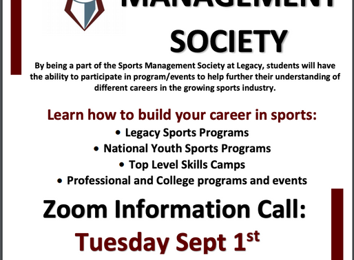 Change of Date for Sports Management Society Zoom Mtg