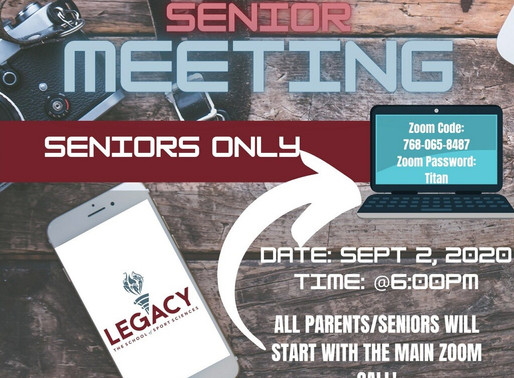 Virtual Senior Meeting September 2, 6:00