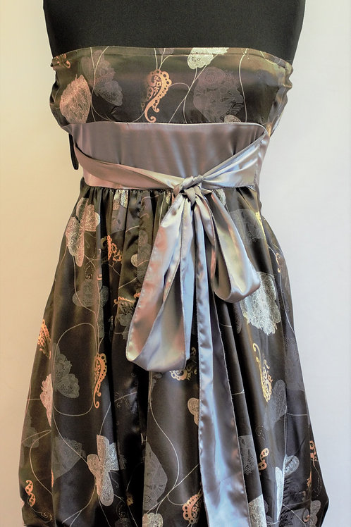 Strapless butterfly print dress, brown/grey Size 8