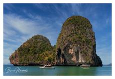 Large rock formation off Railay Beach in Krabi, Thailand