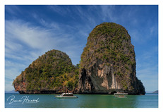Large rock formation off Railay Beach in Krabi, Thailand