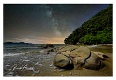 The Milky Way over a beach on Borneo