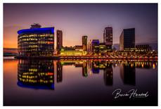 Sunset over Media City, Salford Quays