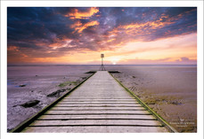 Sunset over the wooden jetty at Lytham, Lancashire
