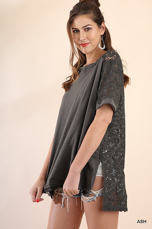 Short Sleeve Top with Side Slits