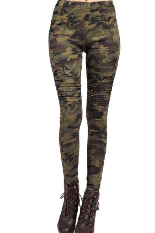Camo Print Skinny Moto Pants