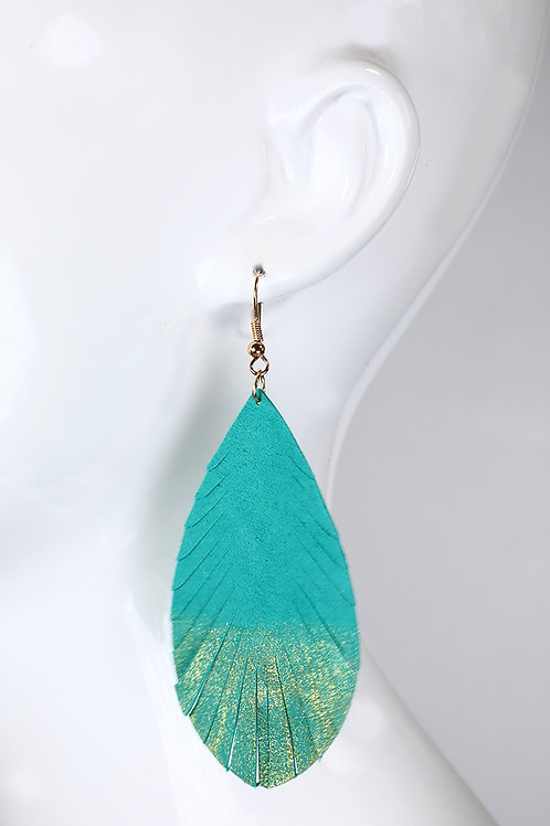 Leather Leaf with Gold Glitter Dangle Earrings