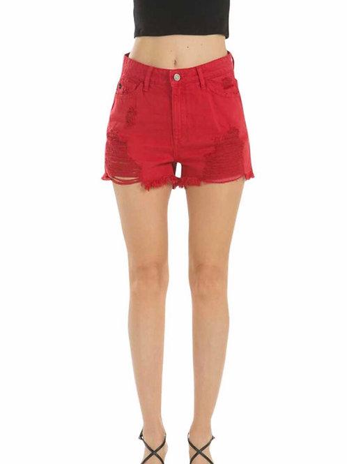 Red High Rise Distressed Frayed Hem Denim Shorts