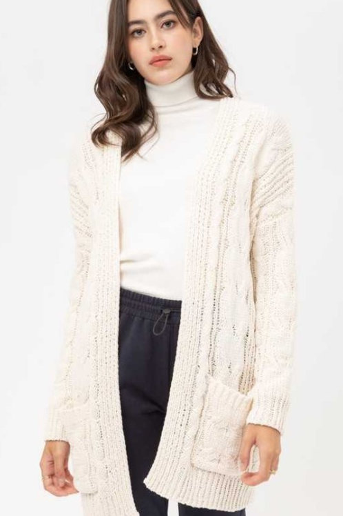 Cable Knit Sweater Cardigan with Pockets