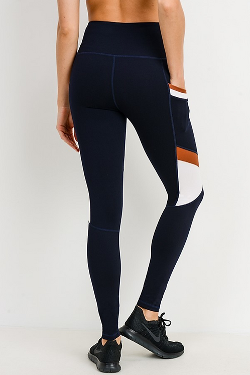 Constructed three color contrast legging