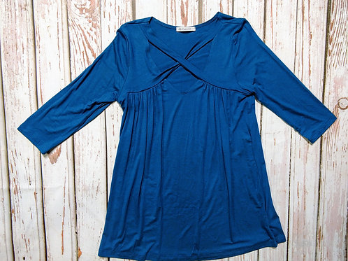 3/4 Sleeve Crisscross Neckline Top