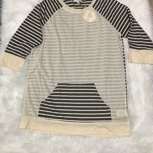 Striped and Solid Knit Tunic with Front Pocket