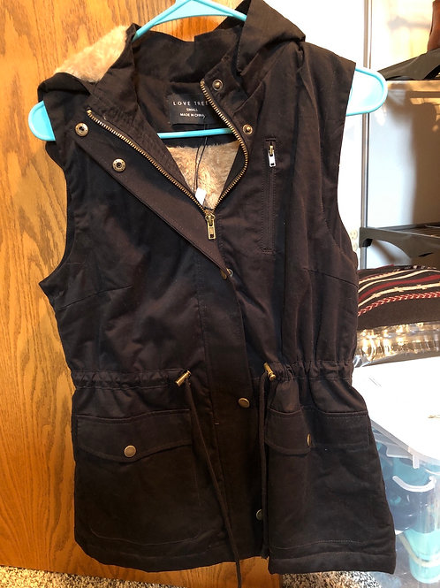 Fur Hoodie Vest With Pockets