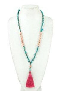 Nugget Gem Tassel Long Necklace