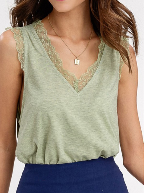 Knit Tank with Lace