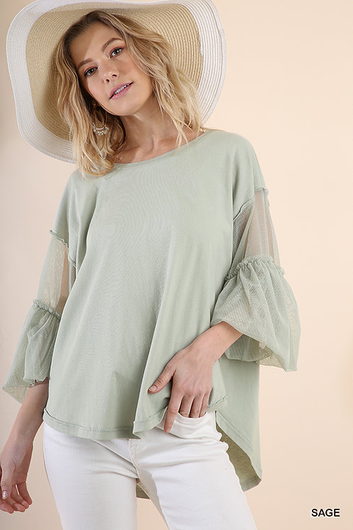 Mesh Puff Sleeve Top with a Basic Body and Scoop Hem