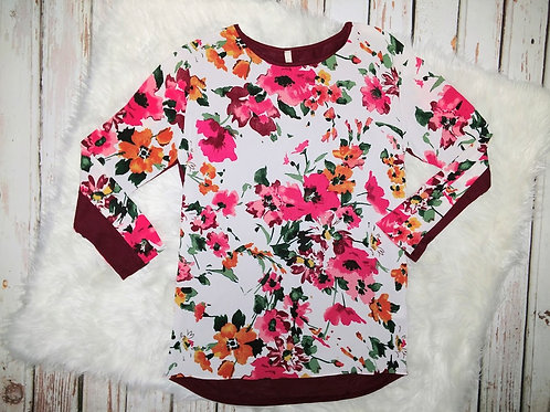 Long Sleeve Floral Print Top