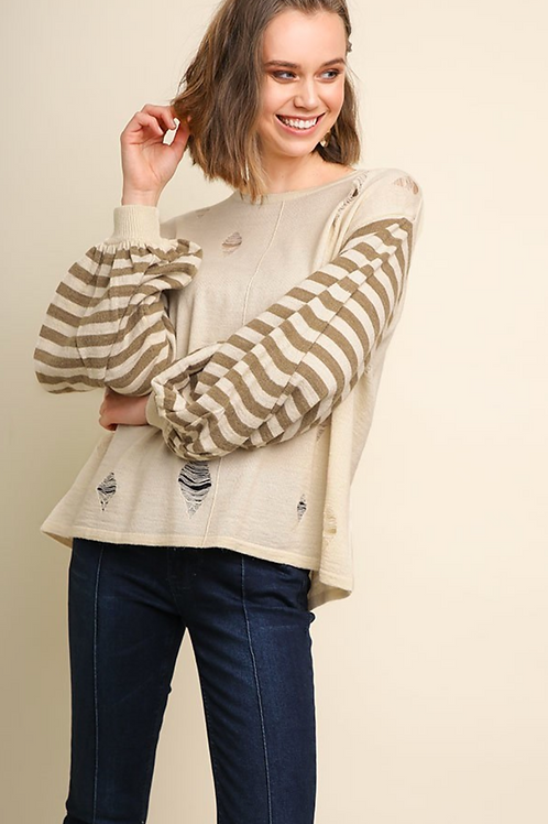 Long Striped Sleeve Pullover Sweater with Ripped Details