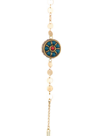FLORAL GEM DISK LINK PENDANT NECKLACE