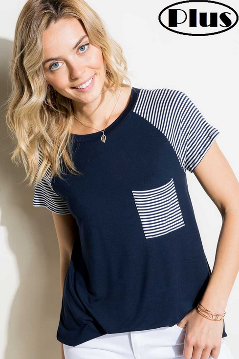 Plus - Solid and Strip Pocket Tee