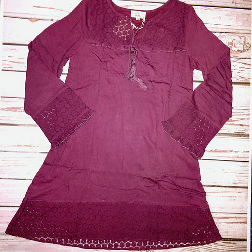 Solid Tunic Dress with Lace Insert Detail