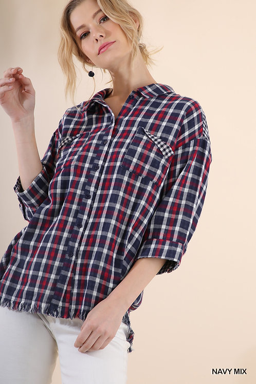 Plaid Button Up Collared Top with Gingham and Frayed Hem Details