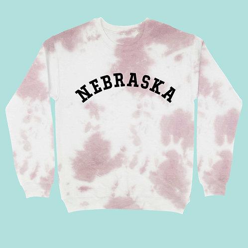 Tie Dye Nebraska Crew Neck Sweatshirt