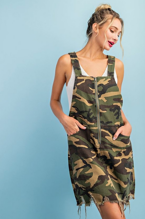 Camo Overall Mini-Dress