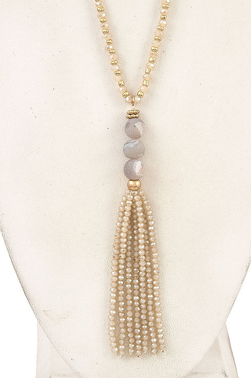 SEMI PRECIOUS BEAD TASSEL LONG NECKLACE