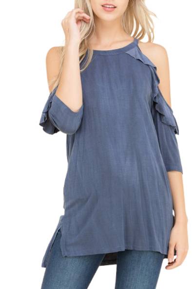Washed Out 3/4 Sleeve Ruffled Cold Shoulder Top