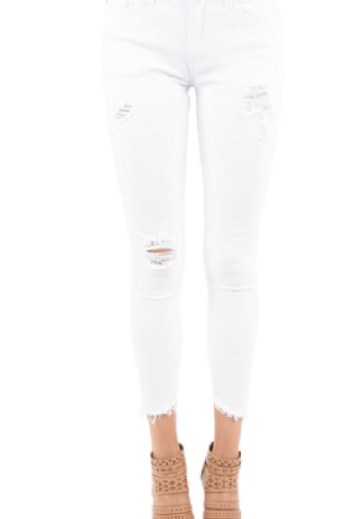 Mid-Rise Cropped Distressed White Jean