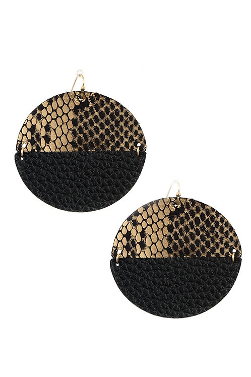 ANIMAL PRINT ROUND FAUX LEATHER EARRING