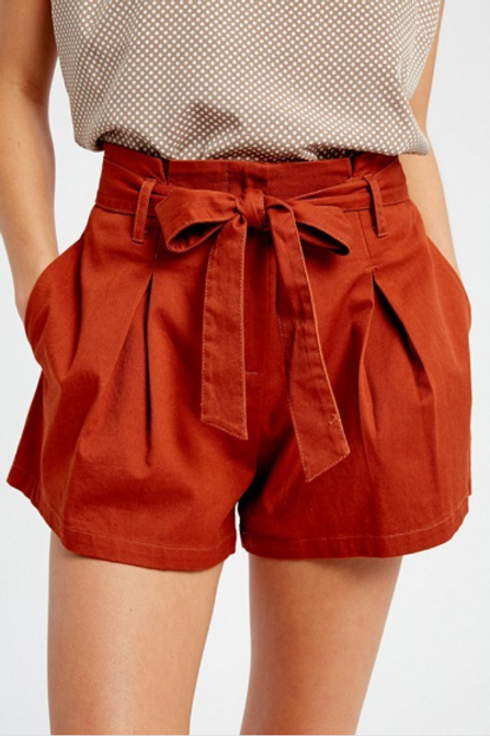 Cotton Twill Cuffed Short w/ Tie Sash