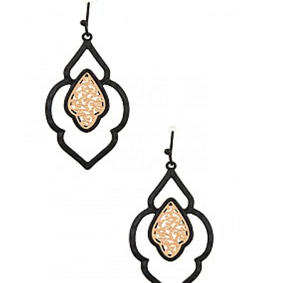 MOROCCAN CUT OUT DOUBLE LINK DANGLE EARRING