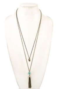 TRIANGLE GEM PENDANT LAYERED NECKLACE