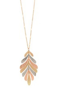 LEAF METAL LINK PENDANT LONG NECKLACE