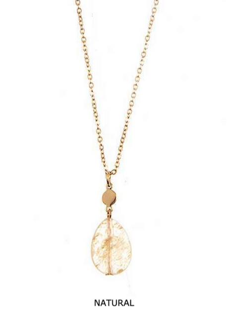 Faceted Teardrop Pendant Necklace