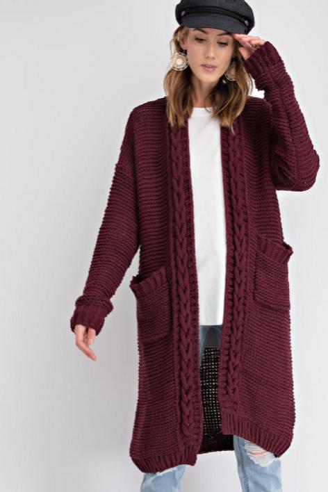 Braided Detailing Knit Cardigan