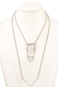 LINK METAL PENDANT DOUBLE ROW NECKLACE