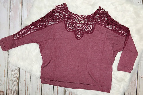 Crochet Lace Contrast Detail Top