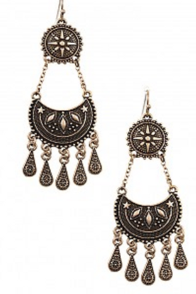 BOHO ETCHED TIERED DROP DANGLE EARRING