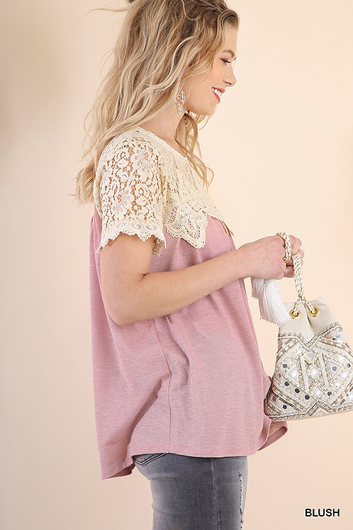 Floral Crochet Short Sleeve Keyhole Top with Knit Body