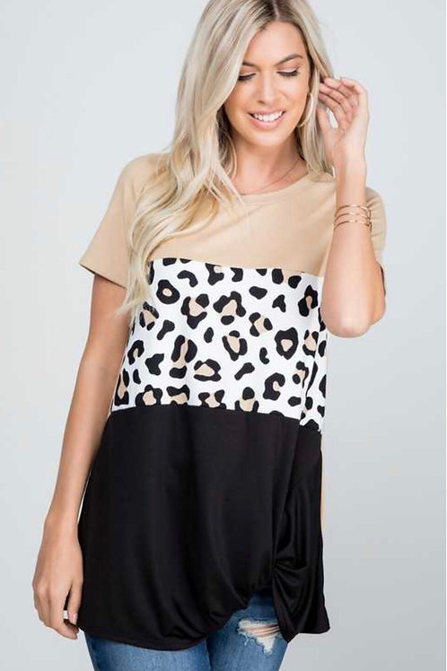 Leopard Print Color Block Top With Twist Hem PLUS