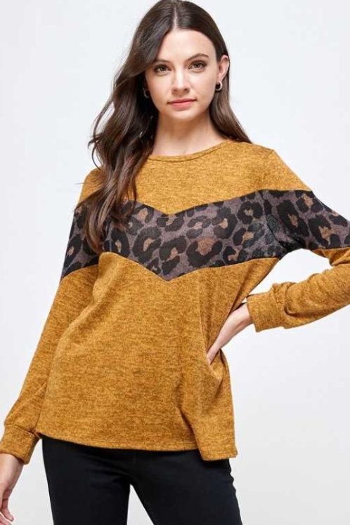 Leopard Print Color Block Knit Top